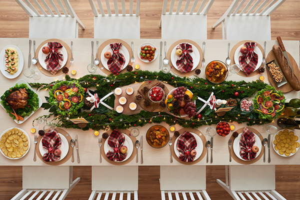 Decoración mesa cena de navidad, el encinar