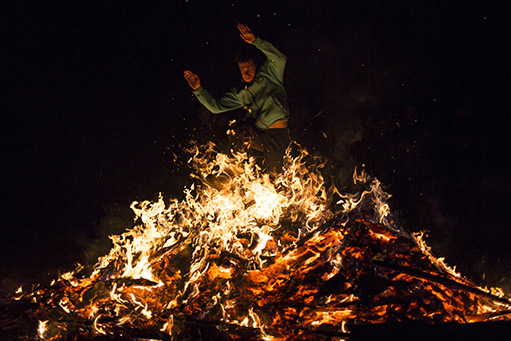Zagovezni fire ritual jumping